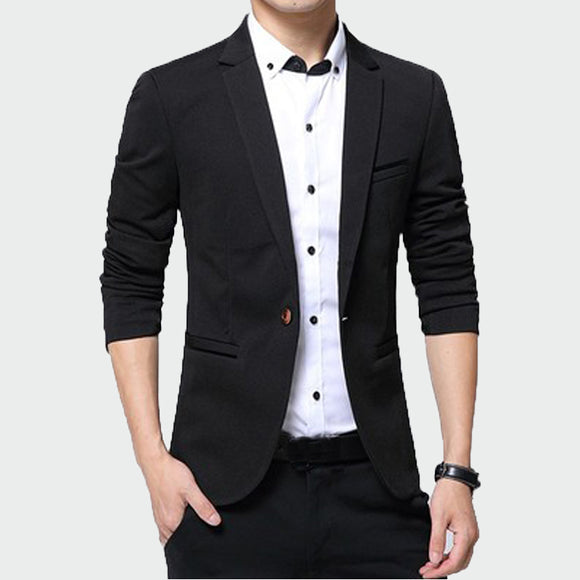 2019 New Men's Blazer Solid Color Suit  Autumn High Quality Casual Coats