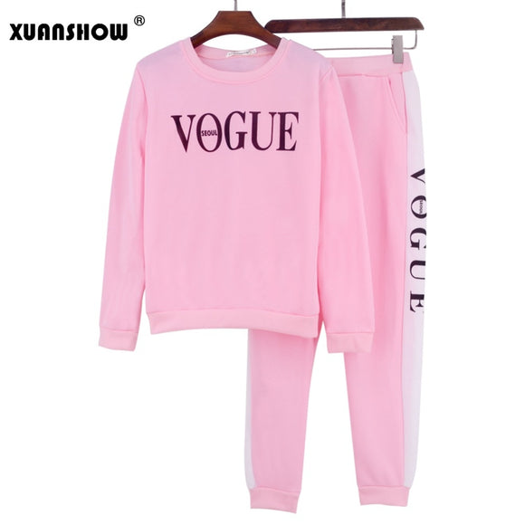 XUANSHOW Tracksuit Autumn Winter Women's 0-Neck Long Pant 2 Piece Set