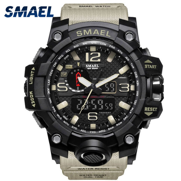 Men Military Watch 50m Waterproof Wristwatch LED Quartz Sport Watch