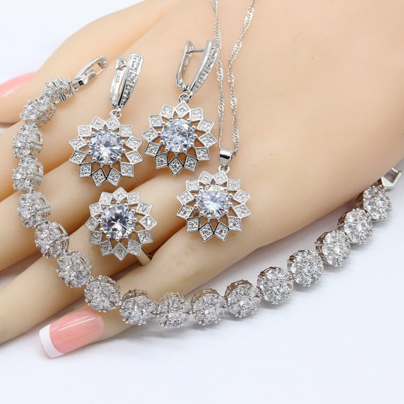 Bridal Jewelry Sets For Women Necklace Pendant Earrings Rings Bracelet