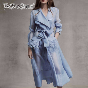 TWOTWINSTYLE Voile Lace up Windbreaker Dress Women Long Sleeve Feather Pockets Sexy Party Dresses Female Elegant Clothes 2019
