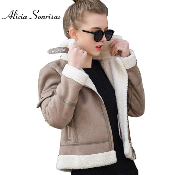 2019 Faux Shearling Sheepskin Coat Women Leather Thick Suede Jacket Women Autumn Winter Lambs Wool Short Motorcycle Coats