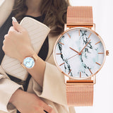 Rose Gold Mesh Creative Marble Female Wrist Watch Luxury Quartz