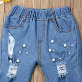 Summer Casual Shredded Jeans Denim Elastic Trousers Blue Hole Pants