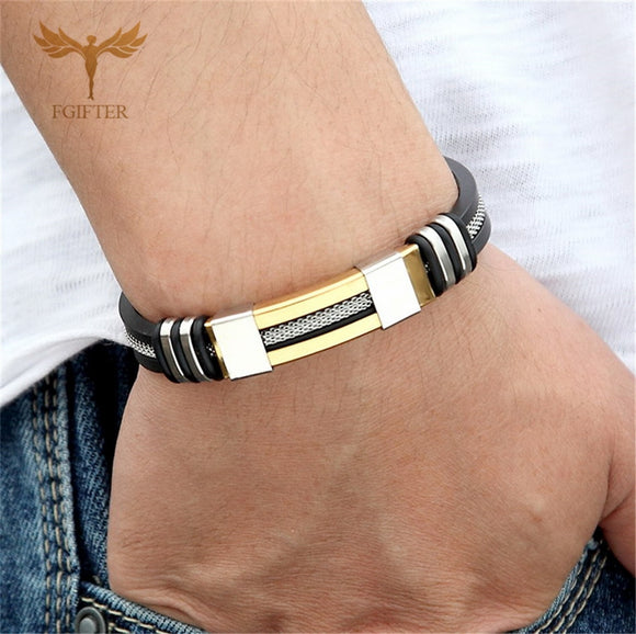 Men's Health Bracelet Stainless Steel Silicone Bracelets with Chain
