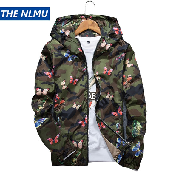 New Autumn Butterfly Print Clothes Men's Hooded Windbreaker Coat