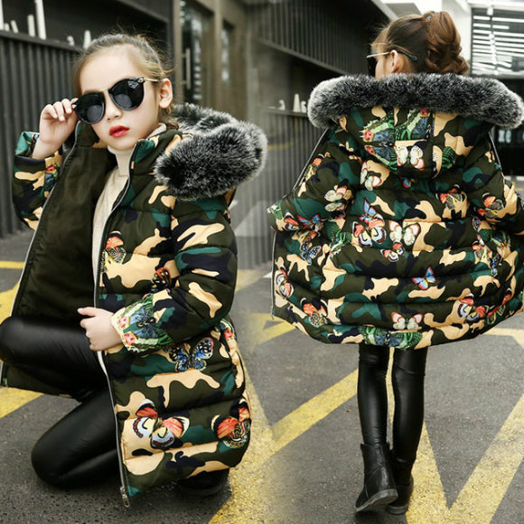 Girl Winter Jacket Cotton-padded Camouflage Printed Thick Clothes