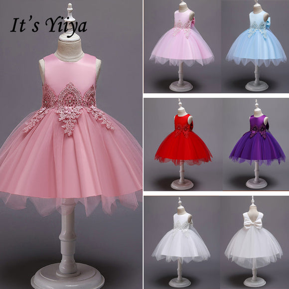 It's YiiYa Flower Girl Dress 2019 Flowers O-neck Christmas Ball Gowns