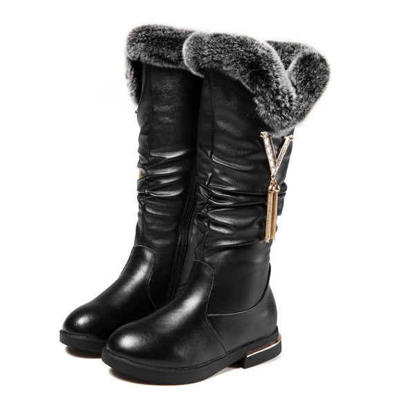 Winter New Girls Boots Fashion Plush Warm Snow Boots