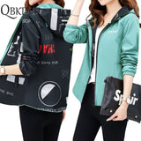 Women Printed And Causal Windbreaker Basic Jackets