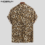 Summer Short Sleeve Leopard Print Shirt Men Lapel Neck Shirt