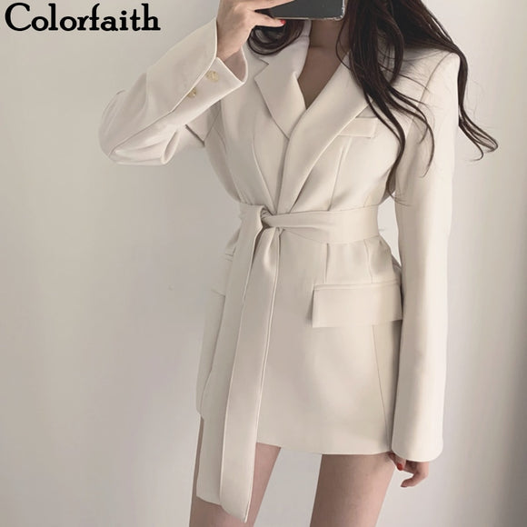 Colorfaith New  Autumn Winter Women Jackets Office Ladies Lace Formal