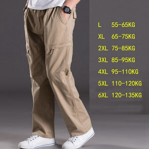casual pants male big size 6XL Multi Pocket Jeans