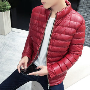 Parkas Men Brand Clothing Fashion Casual Black Winter Jacket Men Thicken Stand Collar Coat Men Slim Fit Thin Jacket Warm Parkas