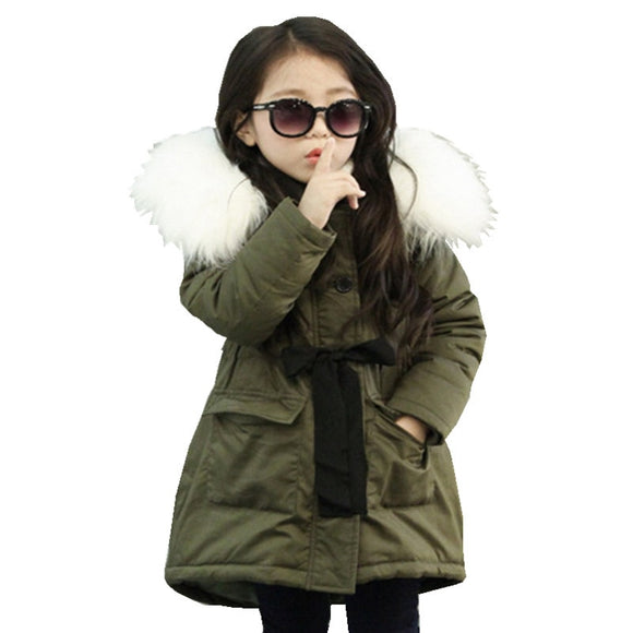 Baby Girls Down Jackets Kids Faux Fur Collar Coat Children Winter
