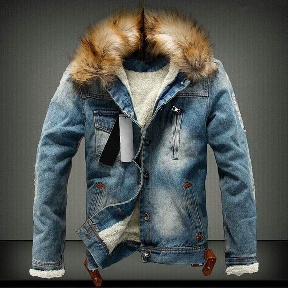 2019 Mens Denim Jacket with Fur Collar Retro Ripped Fleece Jeans Man Jacket and Coat for Autumn Winter plus size 4XL