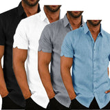 Mens Linen Short Sleeve Baggy Buttons Summer Comfortable Shirts