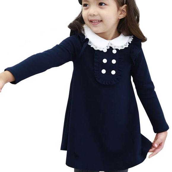 2019 new  winter cotton baby girl  clothes doll collar long sleeve fashion girls mini dress warm kids clothing