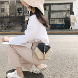 Hexagon Mulit Style Straw+leather Handbag Women Summer Rattan Bag