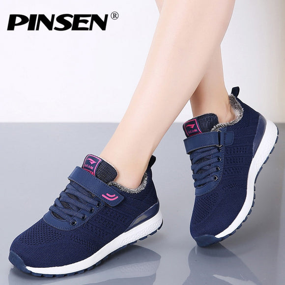 PINSEN 2019 Autumn Winter Sneakers Women Casual Shoes Lace-up Basket Flats Shoes Woman Plush Warm Trainers Shoes Chaussure Femme