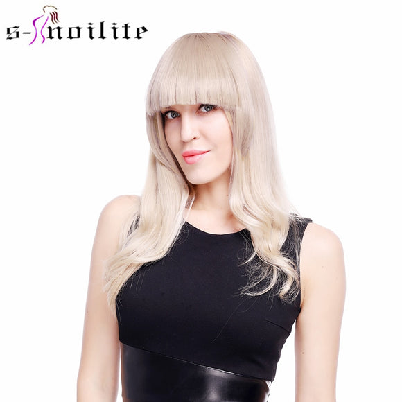SNOILITE Short Front blunt bangs Clip in bang fringe Hair extensions straight Synthetic 100% Real Natural hairpiece