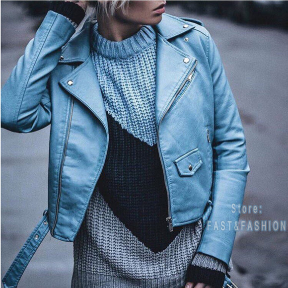 2019 New Fashion Women Autunm Winter Black Faux Leather Jackets Lady Bomber Motorcycle Cool Outerwear Coat with Belt Hot Sale