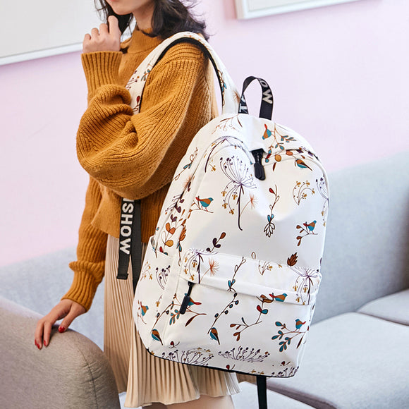 Casual Waterproof Women Backpack Flower Printing