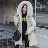 winter -30 degree women fur collar  warm snow coat jacket