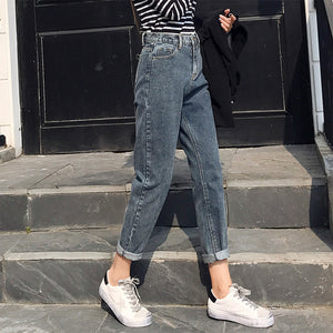 Winter Women 2019 Loose Women High Waist Velvet Jeans