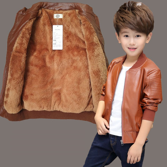 Winter Child Coat Waterproof Baby Girls Boys Leather Jackets