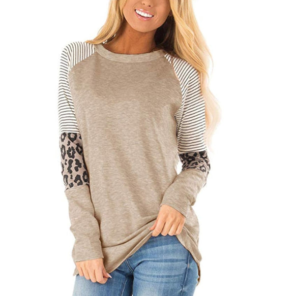 Autumn Women Long Sleeve Leopard O Neck T-shirts
