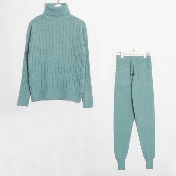 Women Long Sleeve Sweaters Tops+ Long Pants