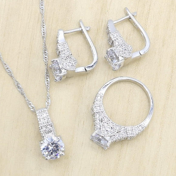 Silver Wedding Jewelry Sets for Women Hoop Earrings Rings Necklace