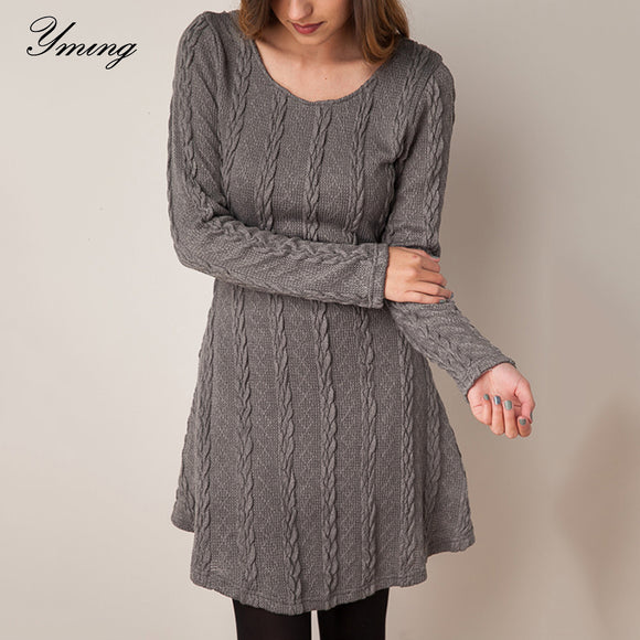 Winter Women Sweater Dress Oversized Knitted Pullover Twisted Long Sleeve Jumper