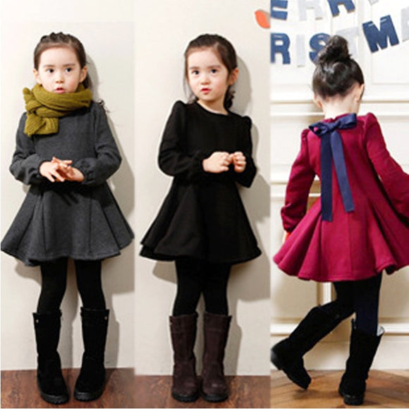 Winter Girls Dress  Girls Warm Velvet  Dress Cotton Kids Clothes Kids Cute Bow Dress  Clothing