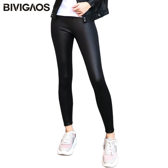 Ladies Winter Warm Thick Velvet Faux Leather Leggings Gothic Legging