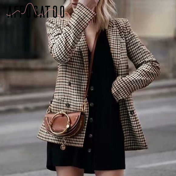 Fashion double breasted plaid blazer women Long sleeve slim OL blazer
