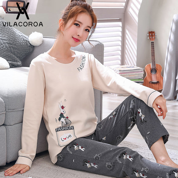 Autumn  Women's  Neck Long Sleeve Top Woman Sleepwear