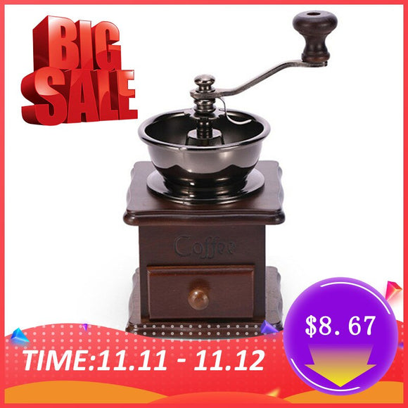 Wooden Manual Coffee Grinder Hand Stainless Steel Retro Coffee Spice