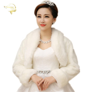 Women Long Sleeve Bridal Winter Wedding Jacket