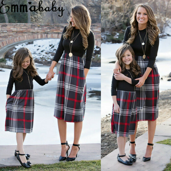 Family Matching Outfit Mother and Daughter Dress Plaid dress Christmas Dress