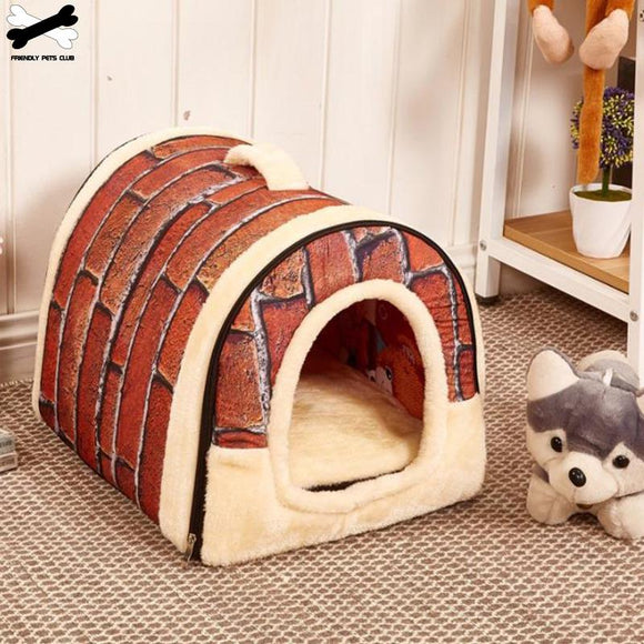 Pet Cave Dog House Bed Comfortable Print Stars Kennel Mat For Pet