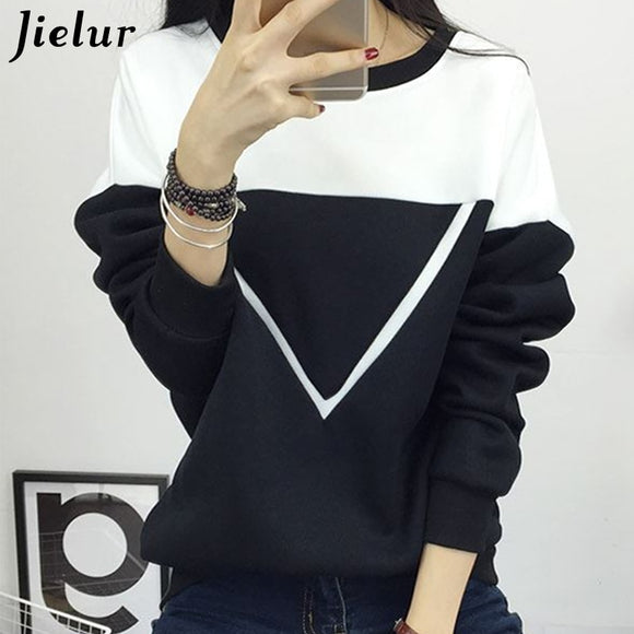 Winter Fashion Black and White Spell Color P Women Sweatshirt