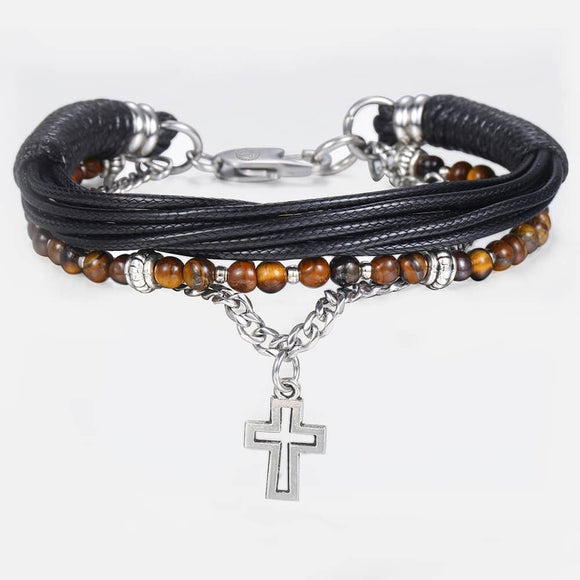 men boy Stainless Steel Cross Charm Leather Bracelet