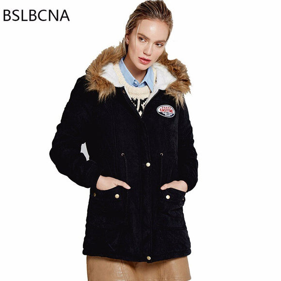 Winter Coat Women European Heavry Hair Collar Cotton Padded Jacket