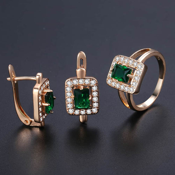 Davieslee Square Green Stone Stud Earring Ring For Women