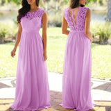 O-Neck Sleeveless Long Wedding Party Formal Gowns