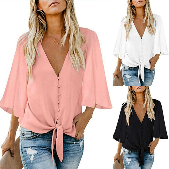 Women Chiffon Button Blouse Shirt Fashion Sexy BatwingSleeve Tops