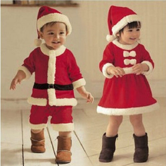 Christmas Baby Santa Claus Cosplay Costume Long Sleeve Cute Infant Winter Baby Dress