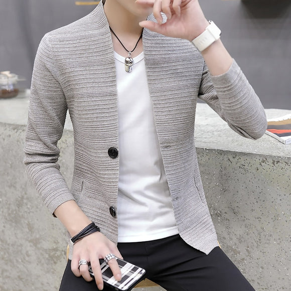 2020 knitting cardigan male v-neck outer wear light fashion handsome recreational sweater